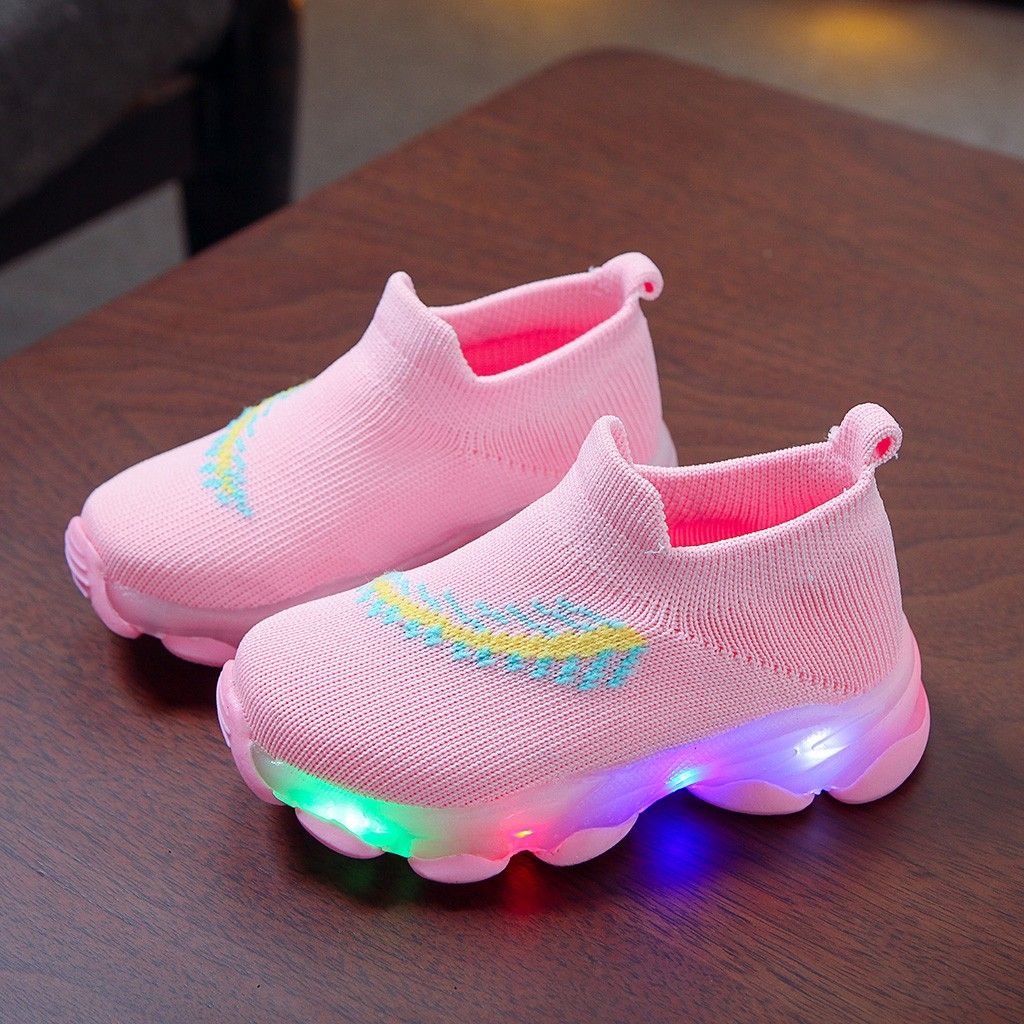 Sneakers Children Baby Girls Boys Feather Mesh Led Luminous Socks Sport Run Sneakers Sapato Infantil Menina Light Up Shoes Oct23|Boots|   - AliExpress