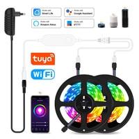 Tira de luces LED inteligente con WiFi, cinta Flexible de 20M RGB 5050, 12V CC, 5M, 10M, 15M, funciona con Alexa y Google Home, Control por voz