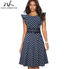 Nice forever Retro Polka Dots Ruffle Sleeve vestidos with Lace Party Female Swing Flare Women Dress A175