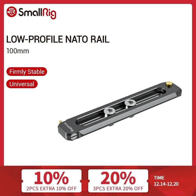 """SmallRig Low profile NATO Rail 100mm Long 6mm Thick Nato Rail With 1/4"""" 20 Mounting Screws For Nato Clamp/Handle/Evf Mount  2485"""