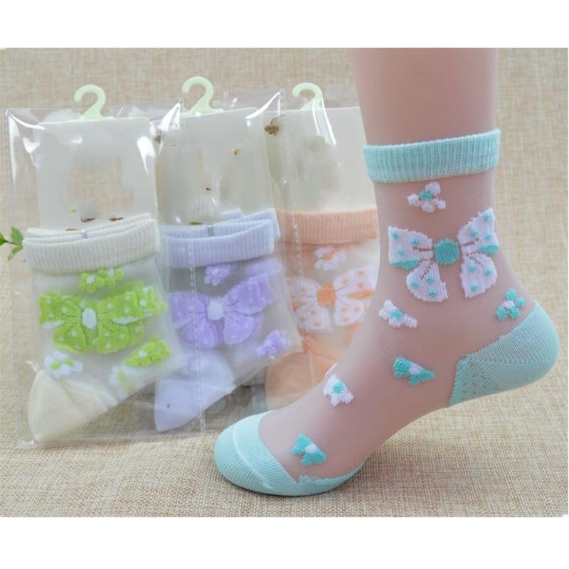 1/4Pairs/Lot Summer Girls Lovely Butterfly Crystal Silk Socks Children Kids Baby Girl Mesh Floral Elastic Lace Flowers Socks