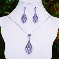missvikki 2PCS Romantic Luxury Blue Purple Shiny Drop Pendant Earrings Necklace Jewelry Set Super CZ Opal New Design Jewelry