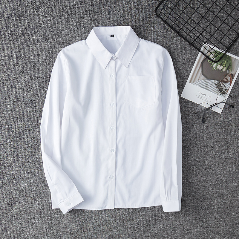 White Cotton Japanese Student Girls School Jk Uniform Top Large-Size XS-5XL Middle High School Uniforms Long Sleeve White Shirt