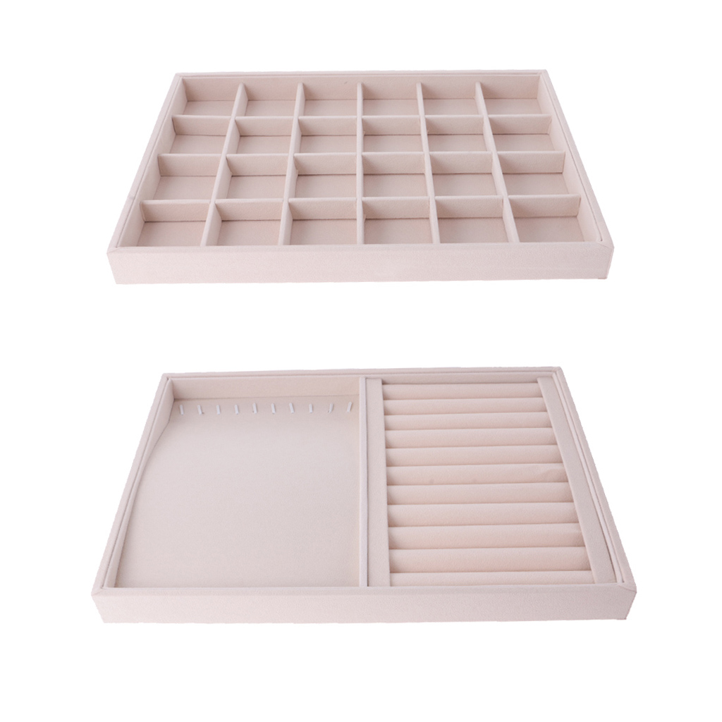 2pcs Beige Velvet Jewelry Tray Showcase Display Organizer Grids Slots Box