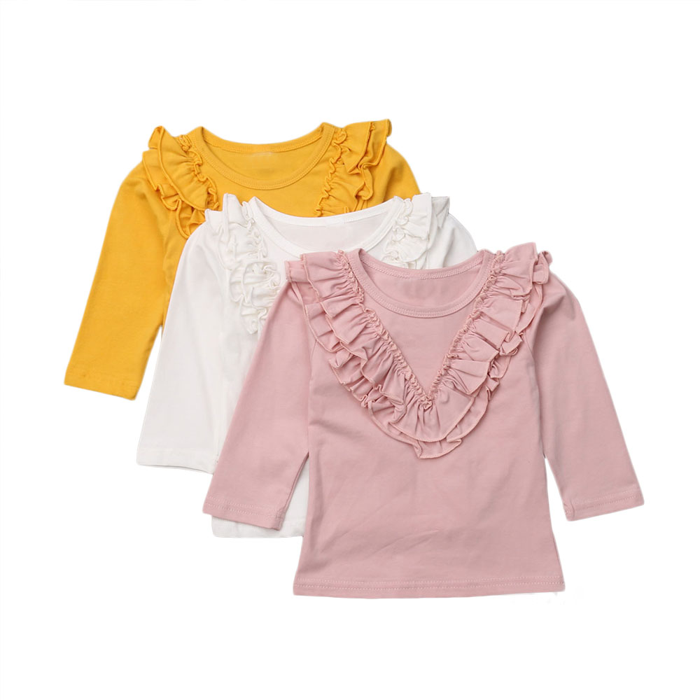 Chifuna Ruffle Three Colors 1-5years Old For Girls Autum Children Clothing Fashion Fall Clothing Girls Tops Full Sleeve T-shirts