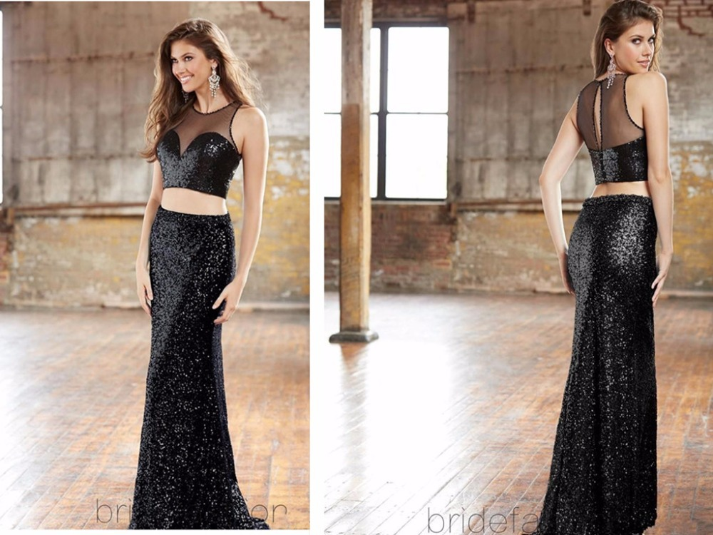 Black Long Beaded 2016 2 Piece Prom Dresses Sexy Sheath Floor Length Formal Party Dress Sexy Evening Gowns Sequins Custom Made