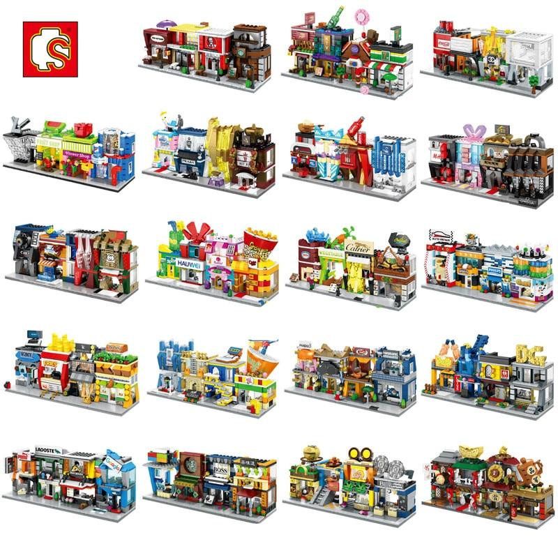 Sembo мини-город улица магазин строительные блоки китайская серия Обучающие Кирпичи игрушки для детей