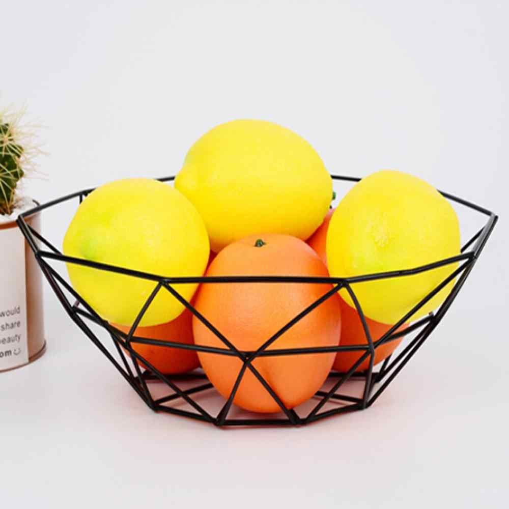 פירות סל גיאומטרי פירות ירקות חוט מטבח אחסון סל מתכת קערת מטבח אחסון מכולות שולחן עבודה תצוגה
