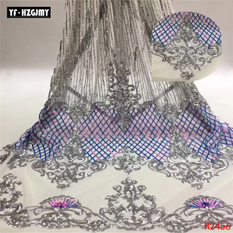YF HZGJMY Silver African Lace Wedding Party Fashion Tulle High Quality French Embroidery Blue/Pink Sequin Fabric A2456