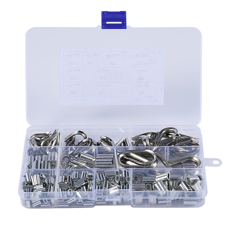 New 225Pcs M2 / 3/4 / 5 Stainless Steel Thimble And 6-Size Aluminum Crimping Loop Sleeve Assortment Kit For 1/16 Inch - 3/16 Inc