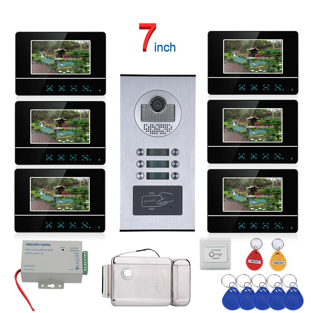 7 Inch Touch Button 6 Apartment/Family Video Door Phone Intercom System RFID 1000TVL  Doorbell Camera +Electric Strike Lock