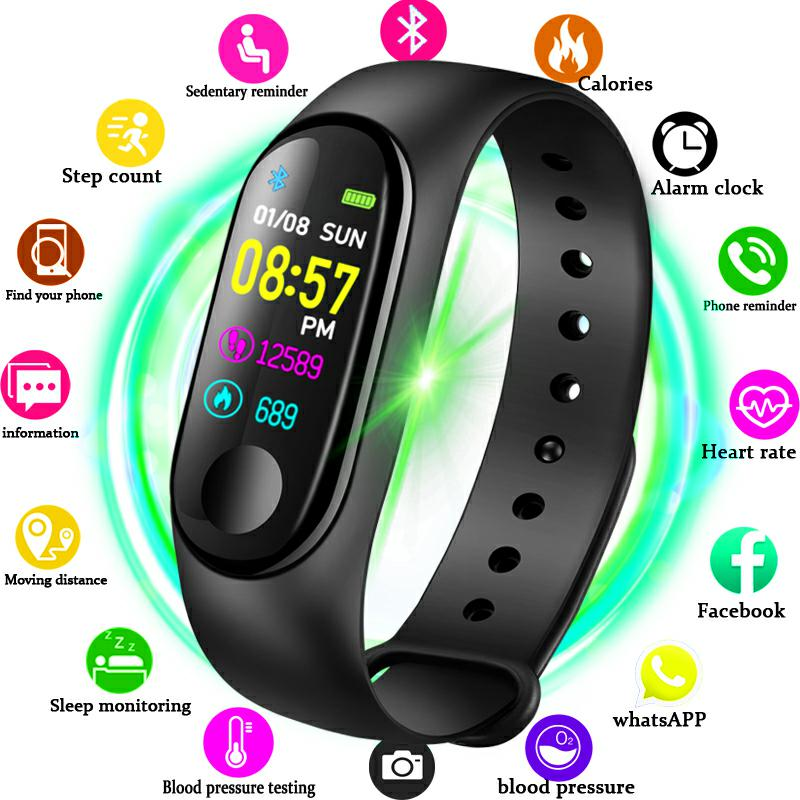 LIGE M4 Men Sports Waterproof Smart Watch Blood Pressure Heart Rate Monitor Smart Band Women Watch Fitness Tracker Pedometer