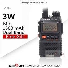Walkie talkie baofeng, mini vhf UV-3R plus UV-3R + 136-174mhz e uhf 400-470mhz duplo rádio portátil de duas vias