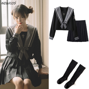 [Witch Rebirth] Schoolgirl Uniform Black Japanese Class Navy Sailor School Uniforms Students Clothes For Girls Anime COS Sailor