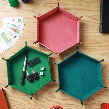 3 Colors PU Leather Folding Hexagon Dice Tray Dice Storage Box Table Board Games Box Bar Club Dice Storage