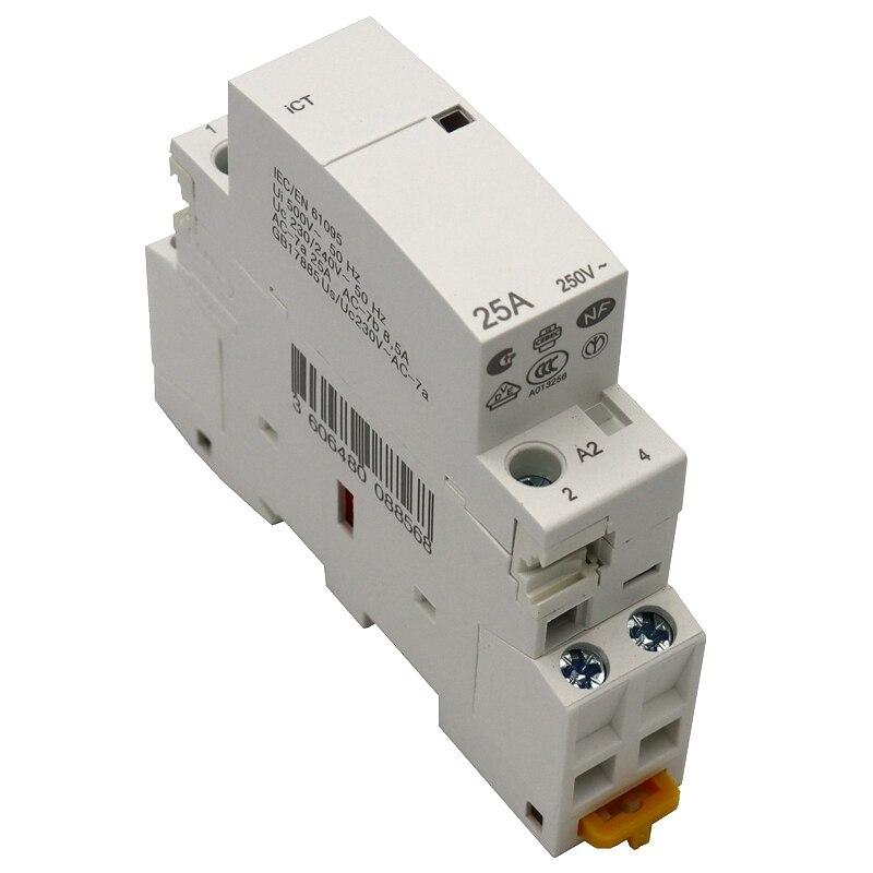 2P 20A 24V 220V//230V 50//60Hz Household AC Contactor DIN Rail Mount 1NO 1NC 220V//230V AC Contactor