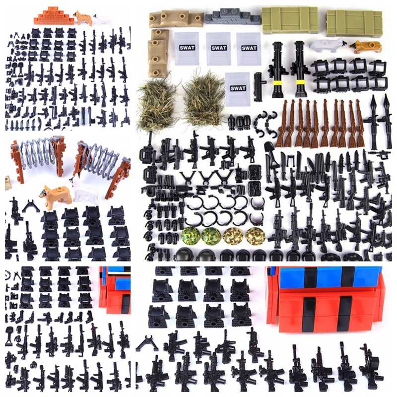 Legoing WW2 Military Weapon Building Blocks Pack MOC Army Accessory Soldiers Figure Gun City Police SWAT Team Legoing Cities Toy