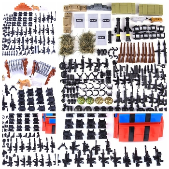 Creator WW2 Military Weapon Building Blocks Pack MOC Army Accessory Soldiers Figure Gun City Police SWAT Team Creator Cities Toy 21pcs machine gun moc weapon pack military accessories blocks city police ww2 soldiers figures bricks parts compatible legoed