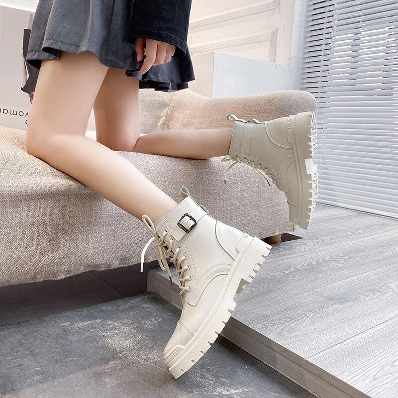 Женские ботинки из искусственной кожи, черные, белые ботинки на шнуровке с круглым носком, на платформе, для осени и зимы, 2020|Сапоги до середины голени| | АлиЭкспресс