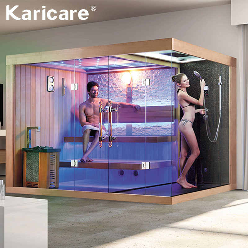 Household luxury dry steam and wet steam shower room integral bathroom log glass sauna room