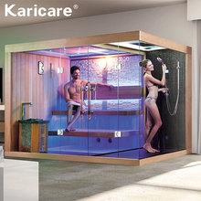 Gospodarstwa domowego luksusowe parą na sucho i na mokro z prysznicem parowym integralną częścią łazienka dziennika szkło sauna pokój tanie tanio KARICARE Panel sterowania komputerowego 3 osób Pokoje sauny WS-1388 Sucha para