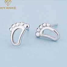 XIYANIKE 925 Sterling Silver 2019 New Creative Prevent Allergy Footprint Stud Earrings Trendy Jewelry For Women Party Gift(China)