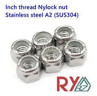 Stainless Steel Nylock nut Self Lock Nuts, Inch Thread SUS304 2# 4# 6# 8# 10# 12# 1/4 5/16 3/8 7/16 1/2 5/8 3/4