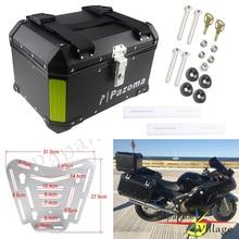 Universal Motorcycle Black Aluminum Rear Box Top Case 45L Passenger Luggage for Honda Harley BMW R1200 F800GT F800GS Triumph