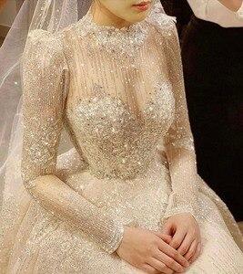 Image 3 - Vintage Vestidos De Novias High Kragen O Neck Bling Bling Glitter Stoff Langarm Ballkleid Muslimische Hochzeit Kleider