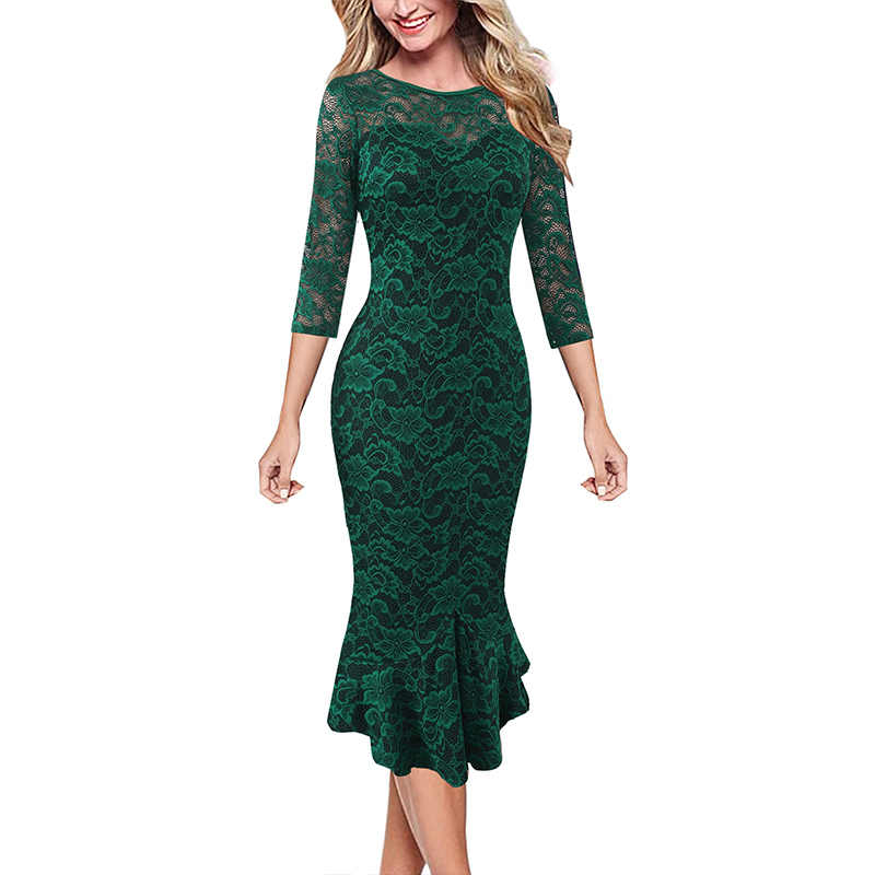 Vfemage Womens Elegante Vintage Bloemen Kant Pinup Business Casual Cocktail Party Ingericht Bodycon Mermaid Potlood Sheaht Jurk 1219
