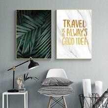 Vert plante feuille affiche feuilles toile peinture nordique affiches et impressions voyage citations mur Art moderne mur photos décor à la maison