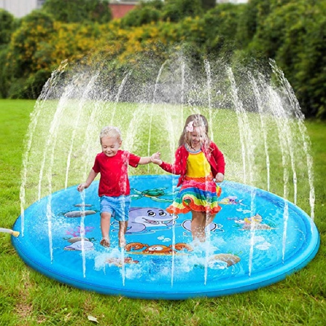 100/170cm Children Play Water Mat Outdoor Game Toy Lawn For Children Summer Pool Kids Games Fun Spray Water Cushion Mat Toys 1