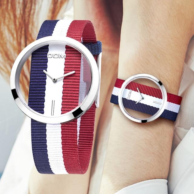 Kadın saatler DOM marka lüks moda rahat kuvars benzersiz şık Hollow İskelet saatler naylon spor Lady saatı LP 205
