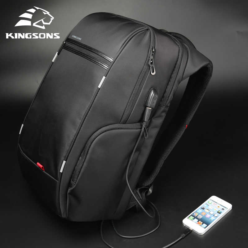 """Kingsons 15 """"17"""" Laptop sırt çantası harici USB şarj bilgisayar sırt çantaları anti-hırsızlık su geçirmez çanta erkekler kadınlar için"""