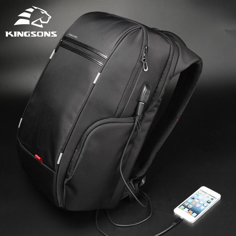 Kingsons 15 17 рюкзак для ноутбука Внешний USB зарядка Компьютерные рюкзаки противоугонные водонепроницаемые сумки для мужчин и женщин