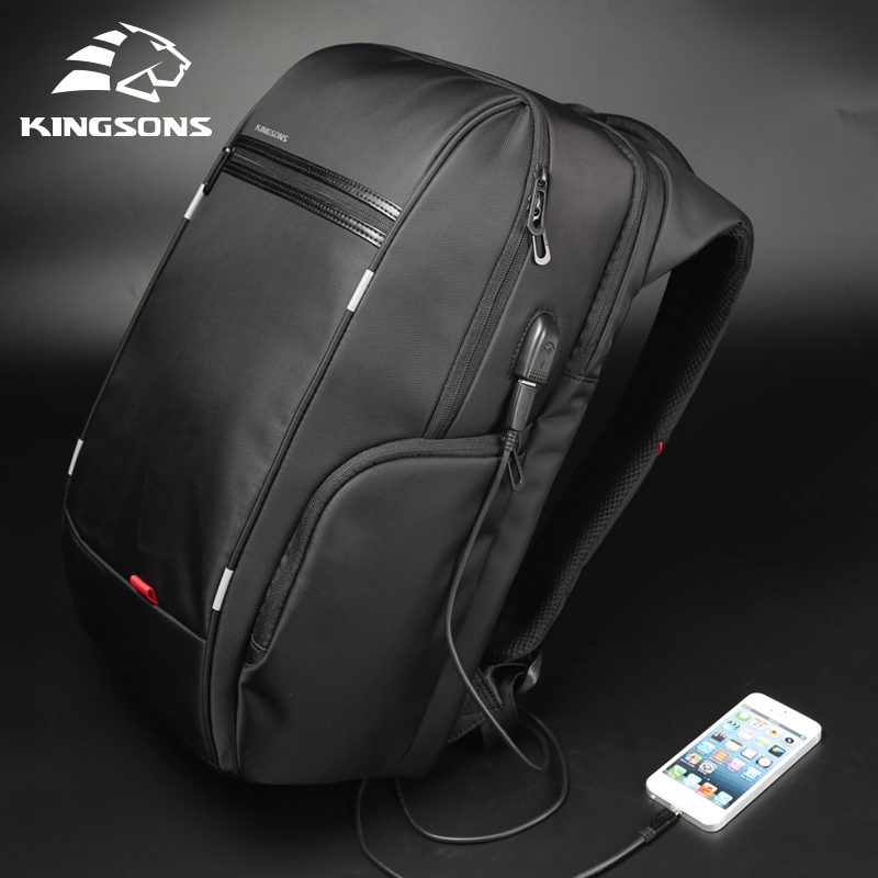 """Kingsons 15 """"17"""" portátil mochila carga usb externo computador mochilas anti-roubo sacos à prova dfor água para homens"""