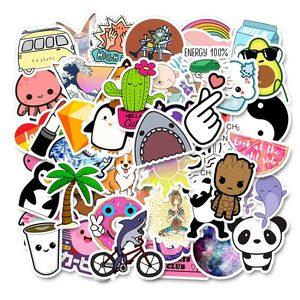 Image 1 - 50 本冷夏 vsco ステッカーパックピンク少女アニメ stiker 子供のためのラップトップ冷蔵庫電話 skateboard スーツケースステッカー