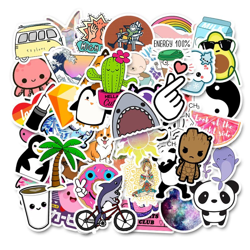 50PCS Cool Summer Vsco Stickers Pack Pink Girl Anime Stiker For Children On The Laptop Fridge Phone Skateboard Suitcase Sticker