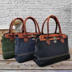 Image 3 - 2019 Nieuwe vrouwen Handtas Vintage Echt Lederen Dames Schoudertassen Luxe Grote Capaciteit Tote Zakenreis Messenger Bag