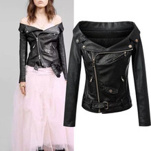 Woman Off shoulder faux leather jacket women motorcycle jacket