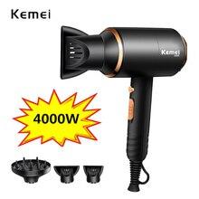 Kemei secador de cabelo iônico 3 em 1, potência forte 4000w, secador de cabelo elétrico 210 240v, cabeleireiro profissional equipamento