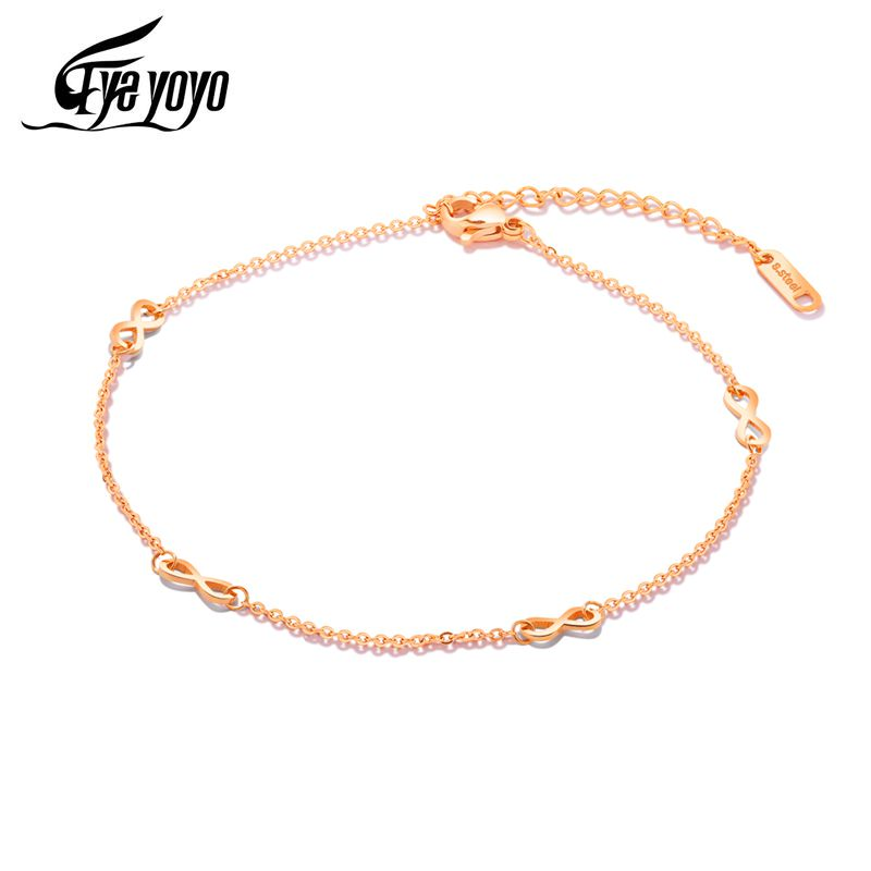 EyeYoYo Rose Gold Infinity Anklets Girls 316 Stainless Steel Endless Jewelry On Leg