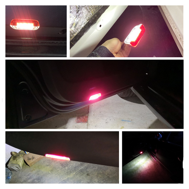 Car LED Door Warning Light Lamps with Cable Wire harness For PASSAT B6 B7 CC Jetta Golf 5 6 MK6 7 MK7 EOS Tiguan Sharan Scirocco