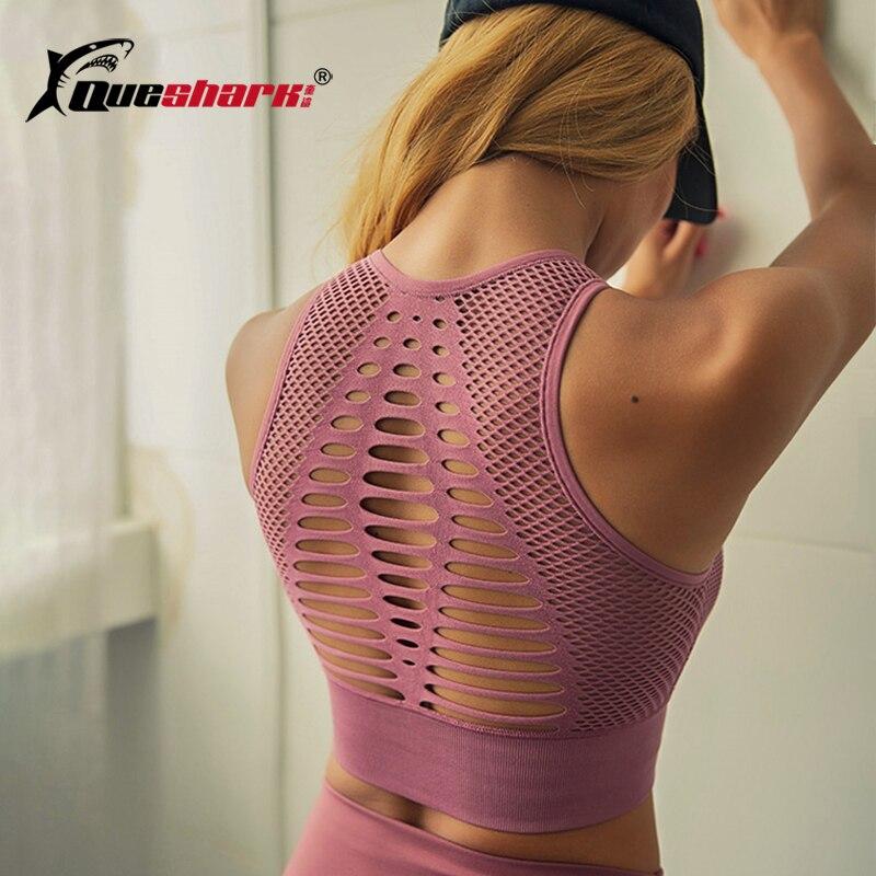 Sem costura sexy sutiã esportivo de fitness mulher racerback curta colheita topos treino acolchoado yoga sutiã alto impacto activewear correndo sutiã
