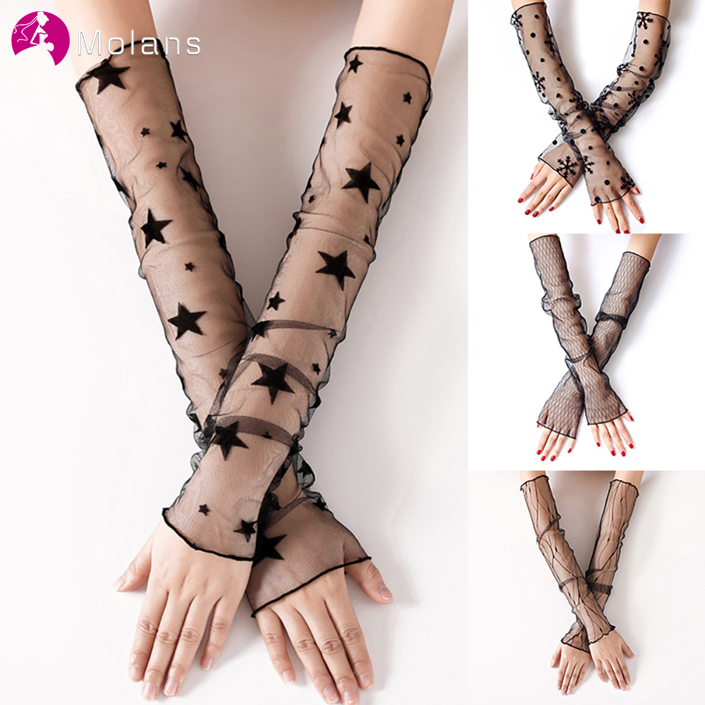 Molans 1 Pair Women Bride Gloves Long Arm Elbow Gloves For Black Color Lace Sexy Female Fingerless Wedding Party Arm Warmers