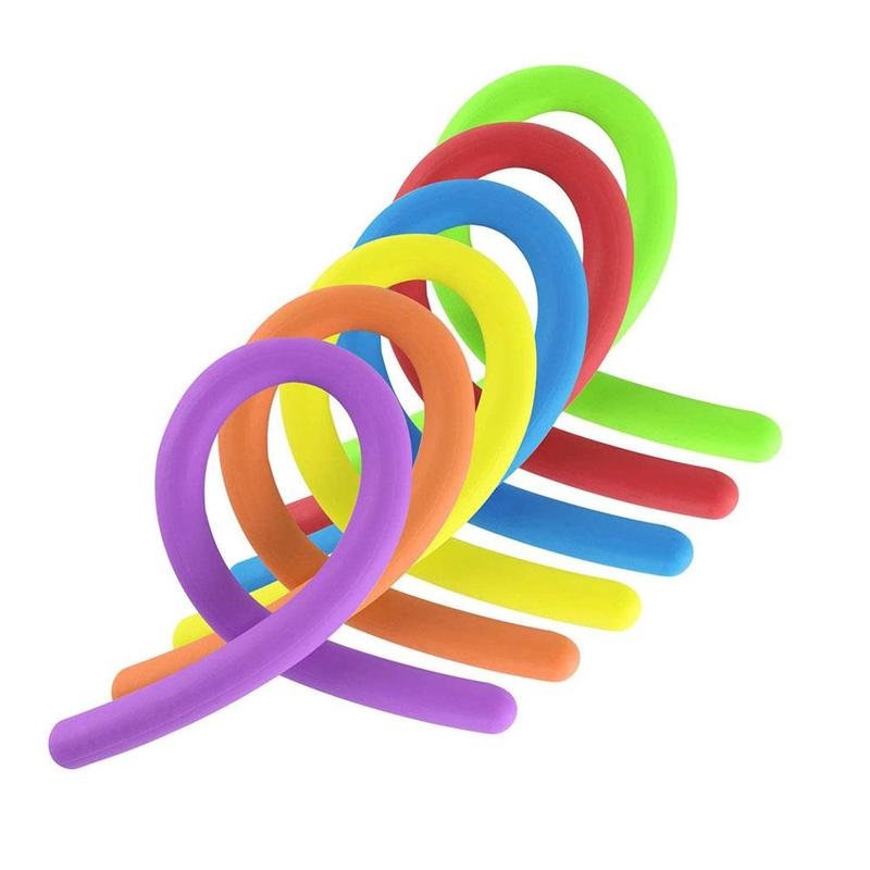 6pcs Stretchy Noodle String Neon Kids Childrens Fidget Sensory Reli Toy X8H2
