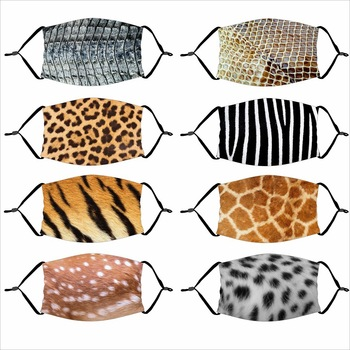 Animal Print Dust Mask Leopard Tiger Pattern Sika Deer Zebra Anti Smog PM2.5 with Filter Face