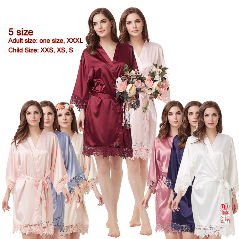 Silky Lace Robe  Satin Bridesmaid Robes Bride Robe Bridal Party Robes Bridesmaid Gifts Lace Wedding Flower Girl Robes  A900A