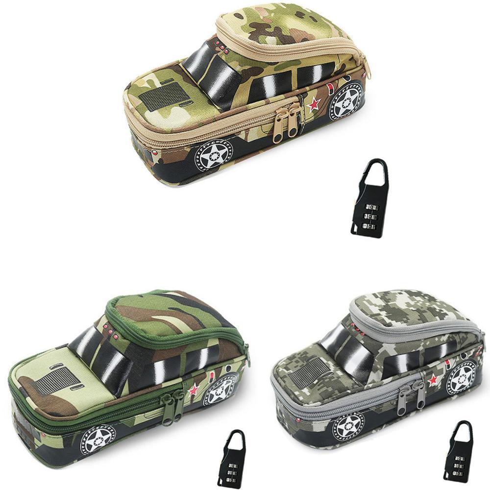 Pencil Case Vehicle Pen Pouch Bag With Combination Lock For Boys Double Zipper Camouflage Canvas Large Cute School Pencil Box
