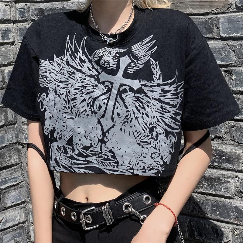 Готический Стиль укороченный Топ Harajuku Графический T рубашки для женщин на зиму, большие размеры, в стиле улззанг, в Корейском стиле, футболка...